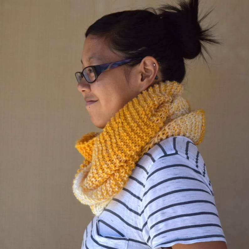 Knit cowl infinity scarf yellow white shades multicolor gift image 0