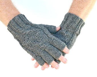 Men's fingerless gloves gray grey Town Christmas Fathers Day gift for him boyfriends husbands mens gift birthday Valentines Day gift
