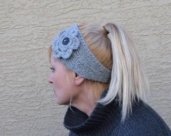 Knit headband with crochet flower warm headpiece knitted ear warmer winter boho headwrap women hair accessory gift for her Christmas
