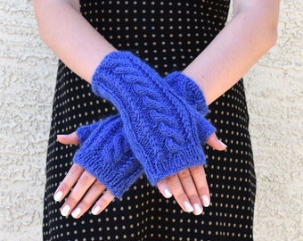 Wool alpaca fingerless gloves cable knit arm warmers cornflower blue gift for her girlfriend gift womens gloves gift under 40 Christmas