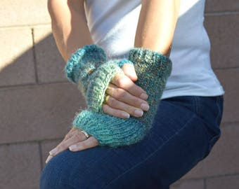 Fingerless gloves knit arm warmers variegated colors alpaca acrylic gift for her spring fashion mermaid colors girlfriend gift warm gloves