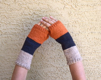 Knitted arm warmers orange charcoal gray tan Earth tones womens fingerless gloves Fall Thanksgiving Christmas gift for her gift under 35