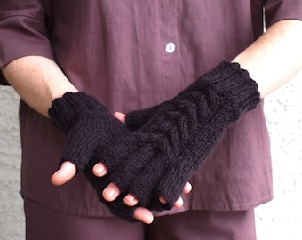 Knit fingerless gloves alpaca brown cozy winter mittens handmade gift for her Christmas winter holidays womens accessories gift under 45