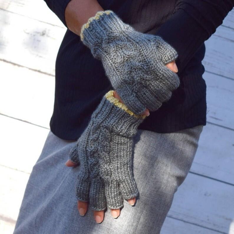 Knit fingerless gloves gray light yellow womens gloves womens image 0