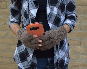 Knit fingerless gloves rustic brown womens gloves gift for her womans gift Mothers Day birthday Chrismas warm gloves womens accessories