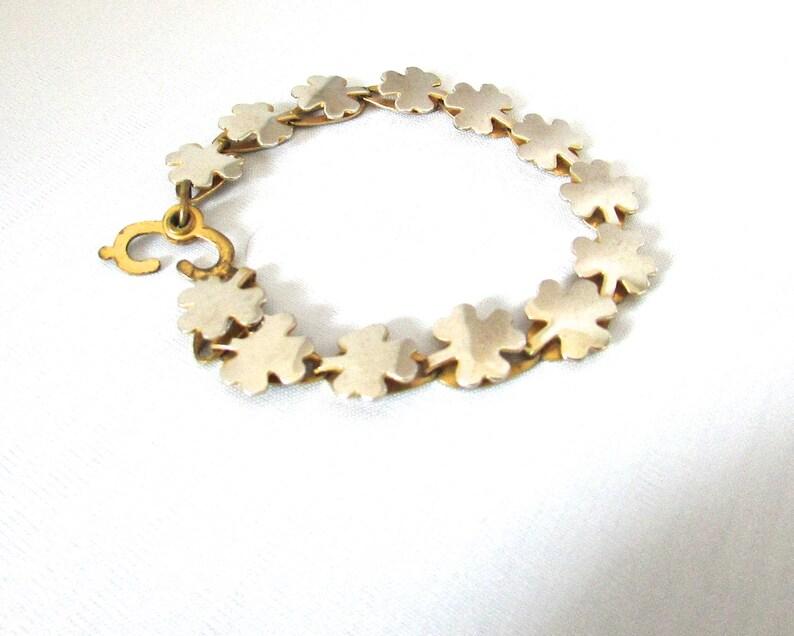 Vintage Gold Silver Tone Shamrock Clover Link Bracelet