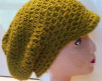 Beautiful Newsboy Cap-Mustard-Lime-Wool