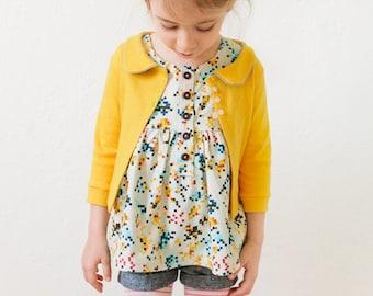 Aster Cardigan   PDF Sewing Pattern   Size 18 months through 12 years   INSTANT DOWNLOAD   Girl's Cardigan   Kids Cardigan   Retro Cardigan