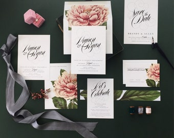 LAUREN SUITE // Blush Peony Wedding Invitation,Botanical, Classic Wedding,  Garden Wedding, Pink, Spring Wedding, Summer Wedding