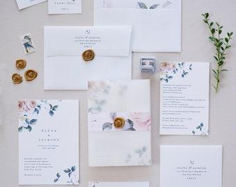 Entzuckend ELENA SUITE // Floral Wedding Invitation, Blush And Blue Wedding, Spring  Wedding, Flora Minimalist