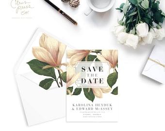 KARY SUITE // Magnolia Save the Date, Botanical, Southern Wedding, Georgia, Spring, Outdoor, Rustic, Garden, Wedding