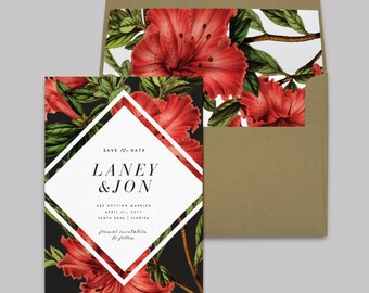 LANEY SUITE // Save the Date, Tropical flowers, Invitation, Botanical, Hibiscus, Hawaii, Florals, Florida, Mexico, Destination, Beach