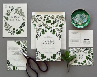 AIMEE SUITE // Green Wedding Invitation, Botanical, Green leaves, Outdoor Wedding, Woodsy, Garden wedding, Rustic, Woodland, Greenery