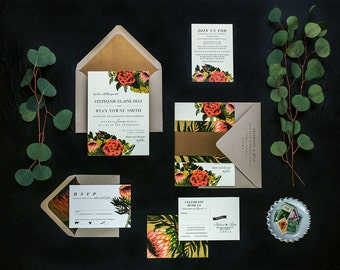 STEPH SUITE // Protea Wedding Invitation, Vintage, Botanical Garden Wedding, Spring Wedding, Spanish Wedding, Tropical, Coastal, Classic,
