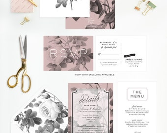 Rose Wedding Invitation Suite in Black and White and Pink, Rustic Vintage Rose Wedding, Shabby Chic Stationery, Romantic Wedding Invite