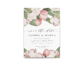 SANDRA SUITE // Save the Date, Peony flowers, Wedding, Invitation, Botanical, Pink Peony, Blush, Florals, Marble