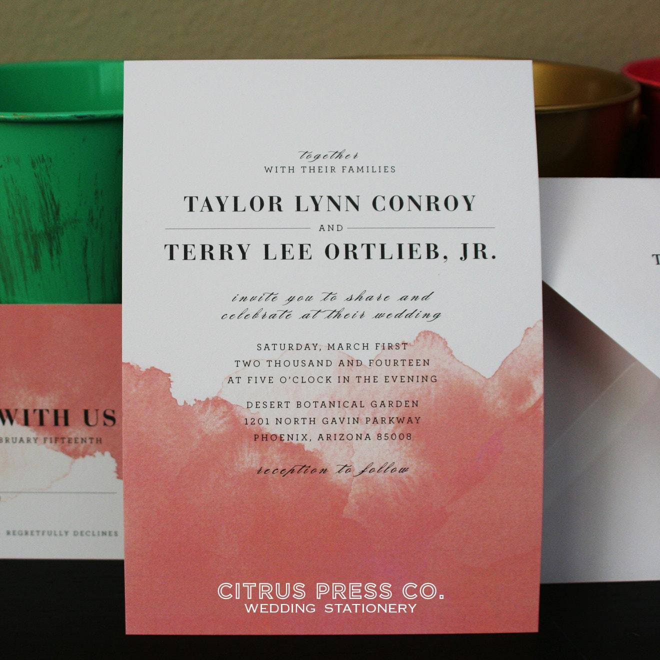 TAYLOR SUITE // Watercolor Ombre Wedding Invitation Coral | Etsy