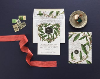 KENDRA SUITE // Save the Date, Botanical flowers, Invitation, Greenery, Destination, Vintage Map, World Map