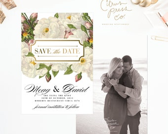 Botanical Save the Date in white rose, shabby chic, hipster, with envelope or postcard or with your photograph