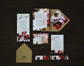 Magnolia Wedding Invitation, Botanical, Rustic, Plantation, Boho Rustic, Southern Wedding, Rustic, Georgia, Garden, outdoor wedding