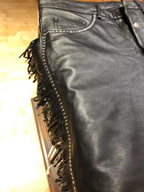 Glam Rock Star Fringed Studded Leather Pants Large