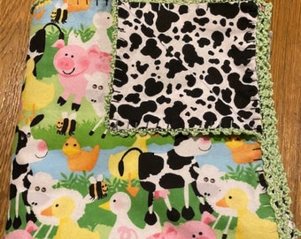 Cow Print Patchwork Baby Blanket  Hot Pink and White Baby Blanket  Cow Applique