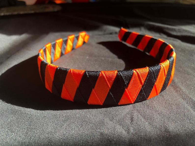 school colors ribbon woven 1 headband Woven headband orange and black football black and orange headband ribbon headband Cincinnati