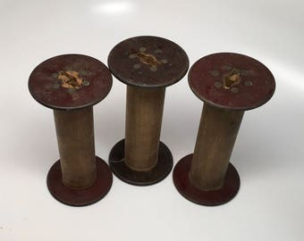 3 Wooden Spools - 2 3/4 diameter inches