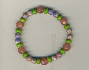 """7 1/2"""" Around, Generous Size for Larger Wrist, Faceted Rose Quartz, Confetti Howlite and Green Tibetan Turquoise Rondelles"""
