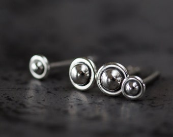 4.5mm and 3mm Ball in Circle Studs, Minimal Stud Earring set for double piercing, Tiny Sterling Stud Silver Earrings for man or woman