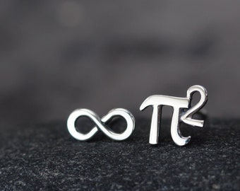Mismatched Stud Earring Set, Tiny Pi (π) Squared and Infinity Symbol, Sterling Silver Math Earrings, Science Geek Nerd Gift