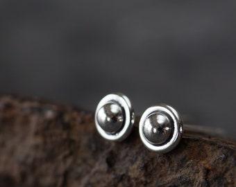 4.5mm Tiny Sterling Silver Stud Earrings, simple dot studs, sci-fi alien UFO earrings, everyday studs for men, women