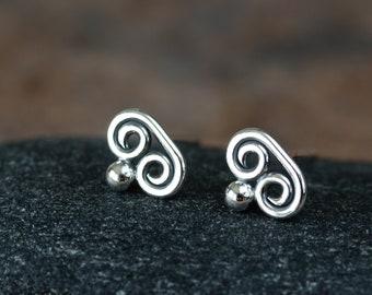 Teeny Tiny Double Spiral Stud Earrings, Miniature Swirl post earrings, simple sterling silver stud earrings for man or woman