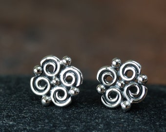 Artisan Handcrafted Stud Earrings For Women, Small but Intricate Spiral and Dot Ornaments, Sophisticated Unique jewelry