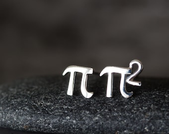 Mismatched Pair of Cute Tiny Pies - mini π and π Squared Stud Earrings, Sterling Silver Pi Studs, Science Geek Gift, Unisex Math Jewelry