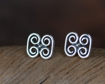 Handcrafted Small Silver Stud Earrings, Pre-Columbian Quadruple Spiral Ornament, Sterling silver spiral studs