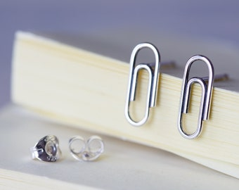 Small Silver Paperclip Earrings, Sterling Silver Wire Paper Clip Studs, Office Coworker Gift Idea, Funky Jewelry, Minimalist