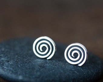 Tiny Spiral Stud Earrings, small unisex metal Celtic spiral studs, men stud earrings, oxidized 925 sterling silver earring