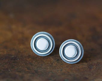 976b84908fed09 Bigger 9.6mm Target Bullseye Studs, Sterling Silver Stud Earrings,  industrial earrings, contemporary metalwork round studs for man, woman