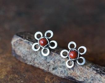 10mm Small Red Flower Earrings, cute wild flower, dark brown red jasper bead, oxidized sterling silver stud earrings, silver wirework