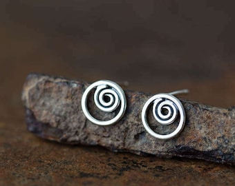 Small handmade silver stud earrings, Tiny spiral inside a circle, 7.5mm flat round circle stud earrings, sterling silver