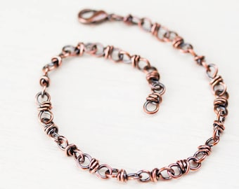 Copper chain bracelet for man or woman, handcrafted copper links chain, wire wrapped artisan copper jewelry