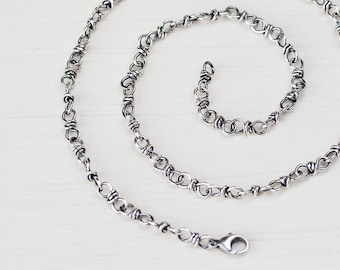 Bigger Sterling Silver Chain for man or woman, handcrafted silver chain necklace with lobster clasp, artisan jewelry, chain for pendant