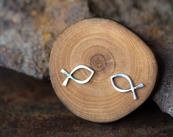 Small Fish Stud Earrings, Minimalist Jewelry, Hammered Wire Outline Ichthus Symbol, Handcrafted Solid Sterling Silver Studs