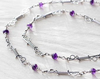 Delicate Amethyst Chain Necklace, Handcrafted Sterling Silver Links Chain, layering necklace, Purple amethyst gemstone and silver, 20 inches
