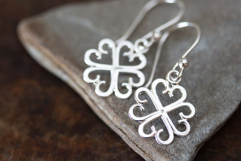 5909a647e Unique Handcrafted Four Leaf Clover Earrings Lucky Shamrock   Etsy