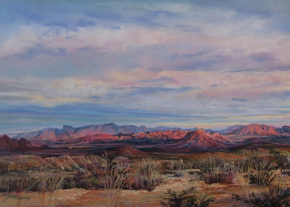 Terlingua Texas Sunset Painting Unique Hand Repainted
