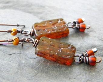 Dark Amber Topaz Copper Earrings Rectangle Burnt Orange Iridscent Gold Long Dangle Kidney Ear Wire Artisan Jewelry