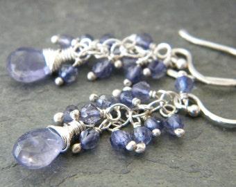 Blue Iolite Sterling Silver Cluster Earrings Wire Wrapped Teardrop Gemstone Artisan Jewelry