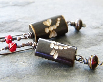 Dragonfly Red Copper Earrings Wood Carved Bead Dark Red Asian Inspired Long Dangle Rectangle Czech Glass Artisan Jewelry